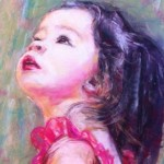 portrait painting of girl in pink dress