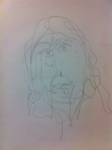 Blind Contour with hair down