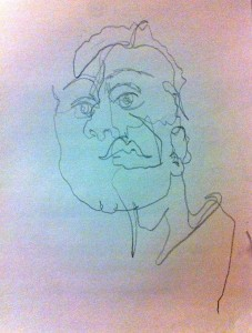 Blind contour with hair up