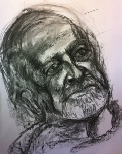 Charcoal drawing of Ray Harrington: First hour