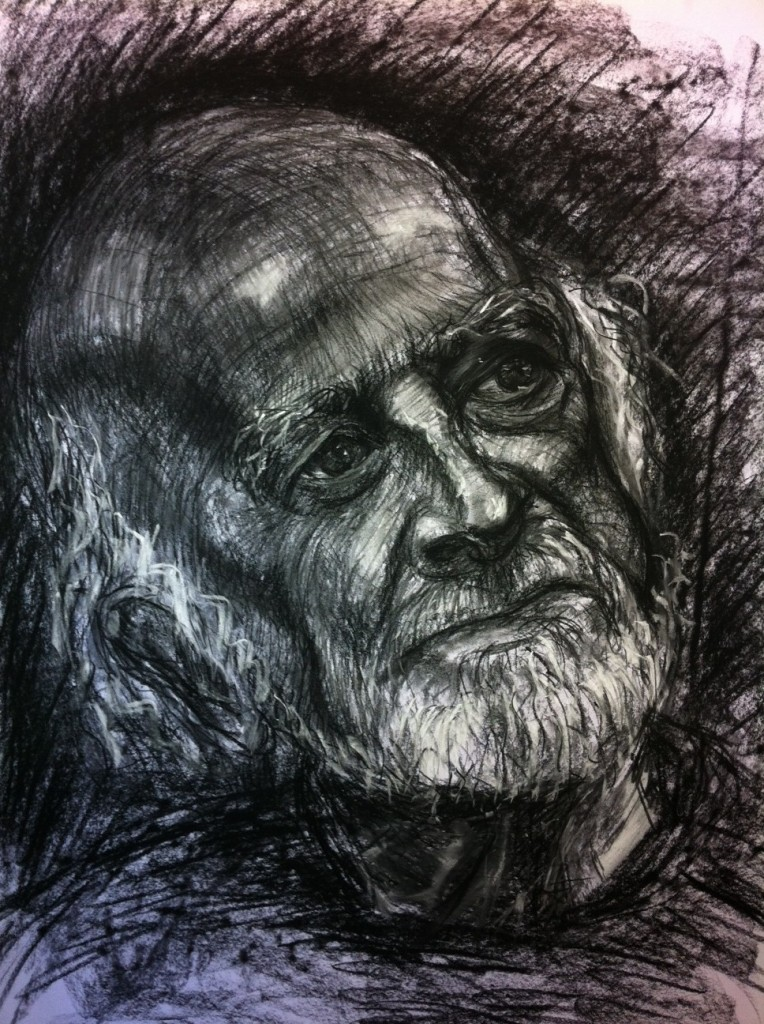 Charcoal Drawing of Ray Harrington: Second hour