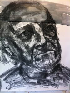 Charcoal under-sketch: starting the wash